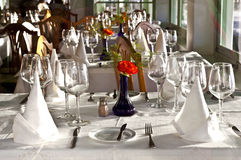 Table is set in a restaurant Royalty Free Stock Images
