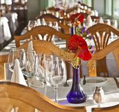 Table is set in a restaurant Royalty Free Stock Image