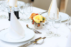 Table set in restaurant for celebration Stock Photography