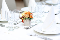 Table set in restaurant for celebration Royalty Free Stock Photo