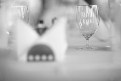 Table set in restaurant Stock Photo