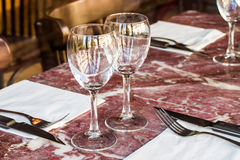 Table set in a resturant Stock Photo