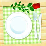 Table set with rose vector illustration