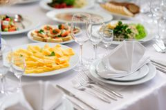 Table Set Service With Silverware And Glass Stock Photography