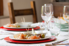 Table set for starter Stock Photos