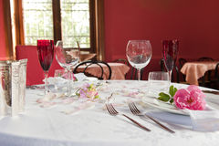 Table set for two spouses Stock Photography