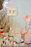 Table set up for a  baby girl birthday party Royalty Free Stock Image