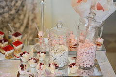 Table set up for a  baby girl birthday party Stock Photography