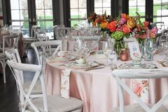 Table set up for bridal shower royalty free stock photography
