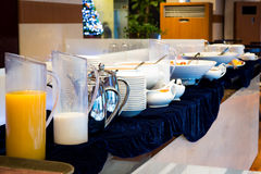Table set up for continental breakfast Royalty Free Stock Image