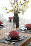 Table set up for dinning room Royalty Free Stock Images