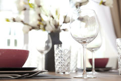 Table set up for dinning room Royalty Free Stock Photos