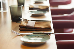 Table set up for dinning room Stock Image