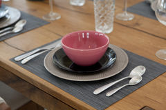 Table set up for dinning room Royalty Free Stock Photo