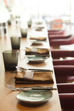 Table set up for dinning room Royalty Free Stock Image