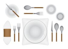 Table Set-up for fine dining. Plate, cutlery, drink and table clothe arrangement for formal eating layout Stock Photo
