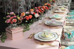 Free Table Set Up For Bridal Shower Stock Photo - 143180860