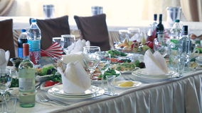 Table set for wedding or another catered event stock video