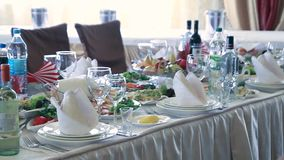 Table set for wedding or another catered event stock video footage