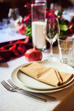 Table set for wedding or another catered event dinner Stock Images