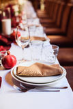 Table set for wedding or another catered event dinner Royalty Free Stock Images