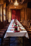 Table set for wedding or another catered event dinner. Beautiful table set for wedding or another catered event dinner Royalty Free Stock Photos