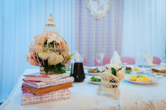 Table set for wedding or another catered event dinner Stock Photos