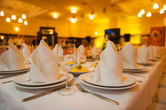 Table set for wedding or another catered event dinner. Ceremony Royalty Free Stock Photos