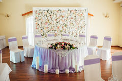 Table set for wedding or another catered event. Dinner ceremony. for newlyweds Royalty Free Stock Photography