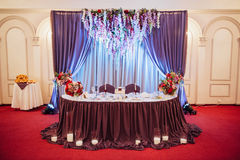Table set for wedding or another catered event. Dinner ceremony. for newlyweds Stock Photo