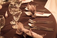 Table set for wedding or another catered event din Royalty Free Stock Image