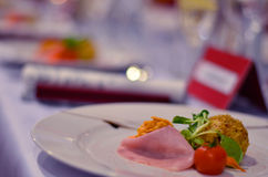 Table set for wedding or another catered event dinner Royalty Free Stock Image