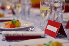 Table set for wedding or another catered event dinner. Table  set glass dinnner elegant Royalty Free Stock Photo