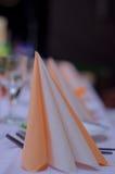 Table set for wedding or another catered event dinner. Table  set glass dinnner elegant Stock Image