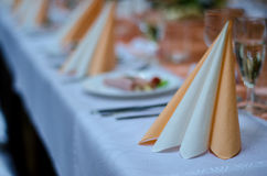 Table set for wedding or another catered event dinner. Table  set glass dinnner elegant Royalty Free Stock Photos