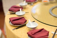 Table set for wedding or another catered event dinner. Luxury wedding table setting for fine dining at outdoors Stock Photography