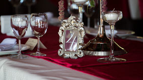 Table set for wedding or another catered event dinner Royalty Free Stock Photography
