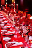 Table set for wedding or another catered event Stock Photos