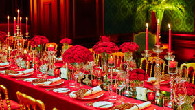 Table set for wedding or another catered event Royalty Free Stock Image