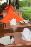Table set for wedding or another catered event dinner. Setup Stock Photos