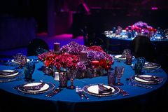Table set for wedding or another catered event dinner Royalty Free Stock Photo