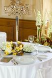 Table set for a wedding dinner Stock Photos