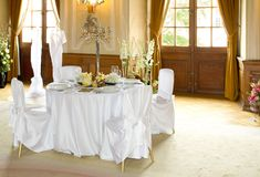 Table set for a wedding dinner Stock Images