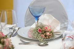 Table set for a wedding dinner Royalty Free Stock Photo