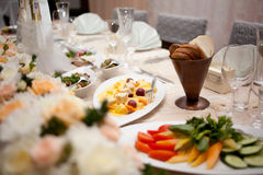 Table set for wedding event dinner. Table set for wedding or another catered event dinner Royalty Free Stock Image