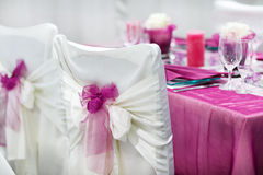 Table set for wedding or event party. Table set  for wedding or event party in pink, rose and purple Stock Images