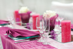 Table set for wedding or event party. Stock Photos
