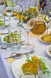 Table set for a wedding lucnh Royalty Free Stock Photography