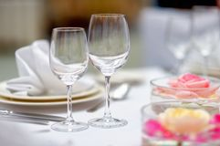 Table set for wedding party Stock Photos
