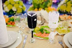 Table set for a wedding reception Royalty Free Stock Image